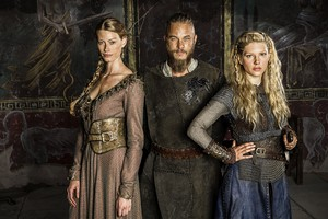 Vikings Season 2 Princess Aslaug, RagnarLothbrok and Lagertha official picture