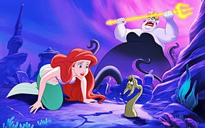 Walt Дисней Book Обои - Princess Ariel, King Triton & Ursula