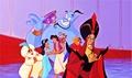 Walt Disney Production Cels - The Sultan, Genie, Carpet, Princess Jasmine, Prince Aladdin, Abu, Iago