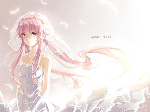 mirai nikki fondo de pantalla entitled Yuno in a wedding dress