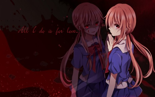 mirai nikki 壁纸 possibly containing 日本动漫 called Yuno's sides