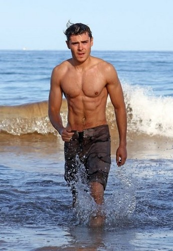 가장 핫한 남자배우 바탕화면 possibly with swimming trunks, a bather, and skin entitled Zac Efron