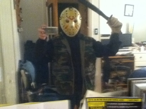 Halloween wallpaper called my homemade Jason Voorhees costume