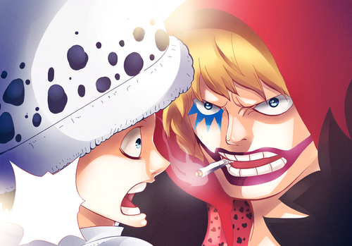 One Piece kertas dinding called *Corazon Warning Law*