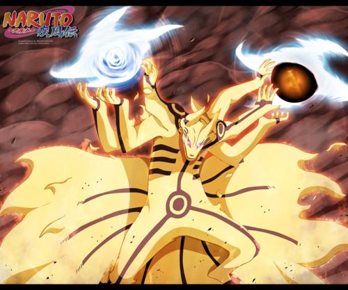 Naruto Uzumaki (shippuuden) fond d'écran probably with animé called *Naruto kurama-rasengan-bijuu-dama*