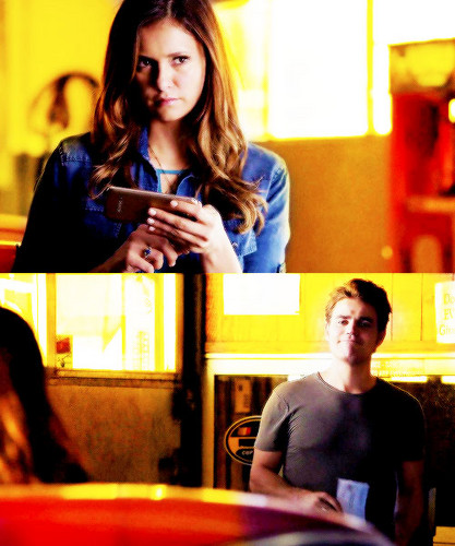 Stefan & Elena wallpaper possibly containing a brasserie, a bistro, and a diner entitled               Stefan and Elena