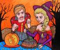 Anna and Elsa in Halloween - frozen fan art