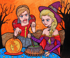 Anna and Elsa in Halloween
