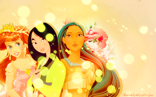 Disney Princess wallpaper possibly with a bouquet entitled Ariel, Mulan and Pocahontas Wallpaper