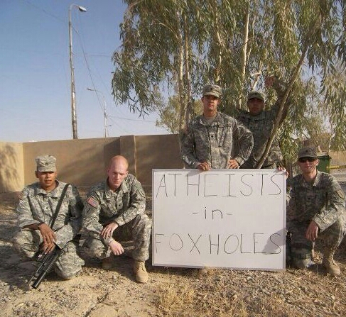 Atheism wallpaper containing a green beret, a rifleman, and fatigues called Atheists in Foxholes