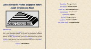 Aztec Group Inc Florida Singapore Tokyo Hapon Investments Team