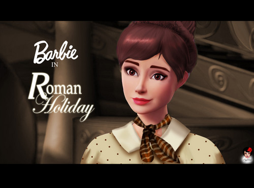 Sinema za Barbie karatasi la kupamba ukuta entitled Barbie as Audrey Hepburn