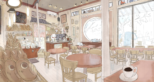 Big Hero 6 Hintergrund possibly with a dining room, a brasserie, and a breakfast area called Big Hero 6 Concept Art - 2nd level of Hiro's House and the Cafe
