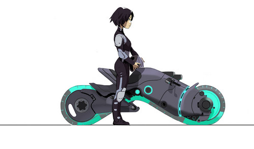 Big Hero 6 Hintergrund possibly containing a motorized wheelchair titled Big Hero 6 - GoGo on Early tech Zeigen bike Concept Art