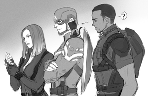 Black Widow, Captain America, сокол