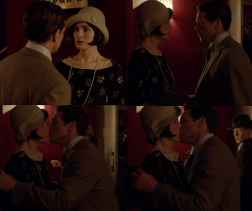 Downton Abbey kertas dinding containing a fedora, a boater, and a porkpie titled Blake kisses Mary