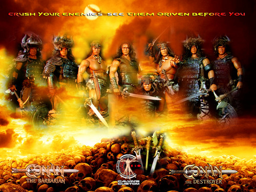 Arnold Schwarzenegger Hintergrund with a fire, a rifleman, and a sunset entitled Calvin's Custom One Sixth Scale Arnold Schwarzenegger as Conan the Barbarian and Conan the Destroyer