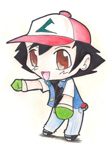 サトシ 壁紙 possibly containing アニメ called ちび Ash Drawing