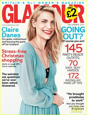 Claire Danes flashes her beautiful smile on the cover of Glamour UK's December 2014 issue.