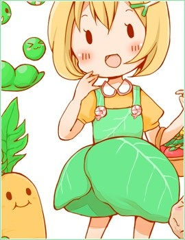 Cute Veggie animê Girl