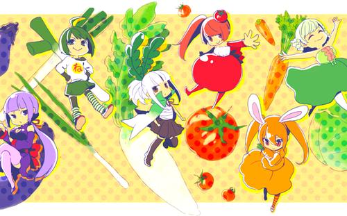 anime Girls achtergrond entitled Cute Veggie anime Girls