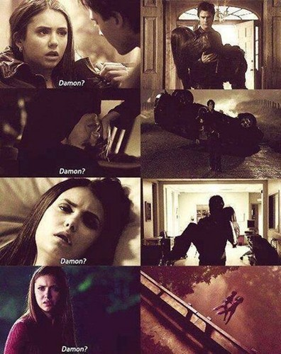 Damon&Elena and Ian&Nina achtergrond possibly with a diner and a straat entitled Delena love OTP