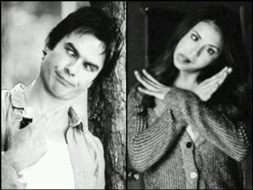 Damon&Elena and Ian&Nina wallpaper probably containing a portrait called Delena love OTP