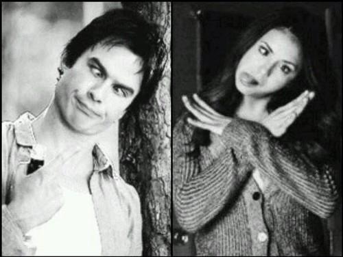 Damon&Elena and Ian&Nina wallpaper probably containing a portrait entitled Delena love OTP