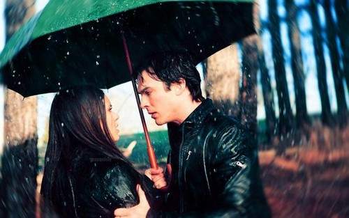 Damon&Elena and Ian&Nina wallpaper containing a parasol called Delena love OTP
