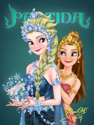 Elsa and Anna in Thai Costume