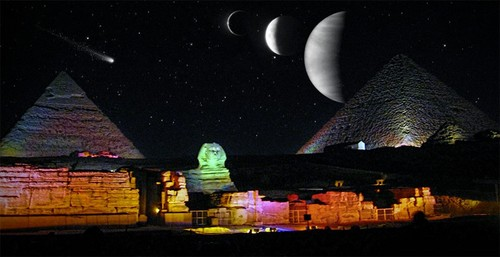 Egypt achtergrond possibly with a business district and a multiplex entitled FANTASY NIGHT LIGHT
