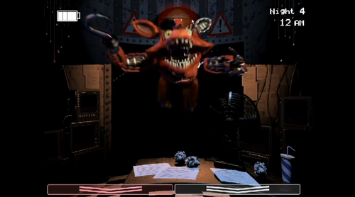Five Nights at Freddy's fond d'écran probably with a sign titled FNAF 2 LEAKED SCREENSHOT (Old Foxy)