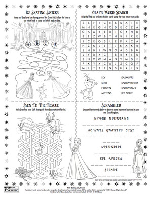 frozen Sing-along Activity Sheet