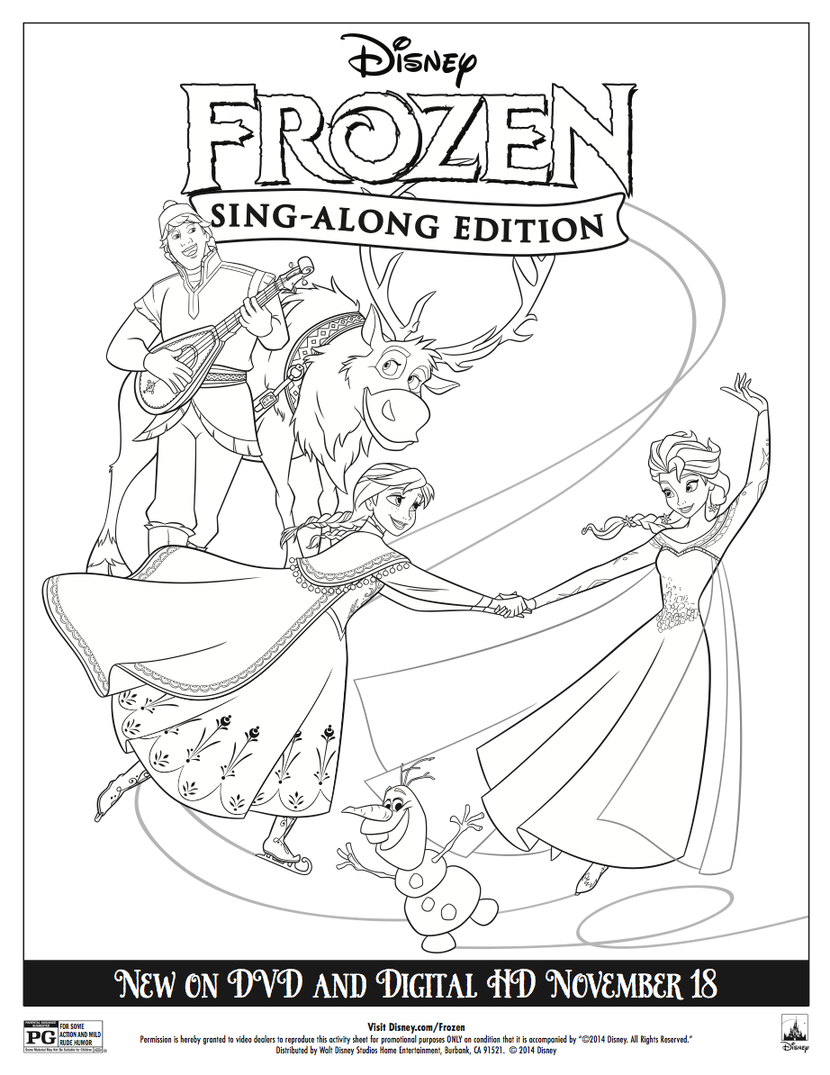 Frozen sing along coloring sheet elsa and anna photo for Disney on ice coloring pages