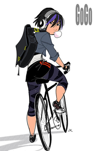 Big Hero 6 Hintergrund probably with a velocipede, veloziped entitled GoGo Tomago Concept Art