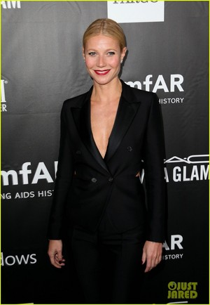 Gwyneth Paltrow Wears a Suit with Slits at amfAR Gala