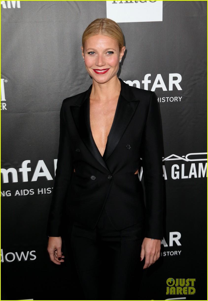 Gwyneth Paltrow Wears a Suit with Slits at amfAR Gala