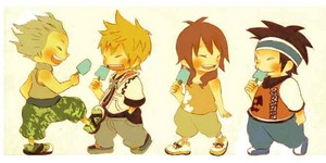 Hayner, Pence, Roxas and Olette