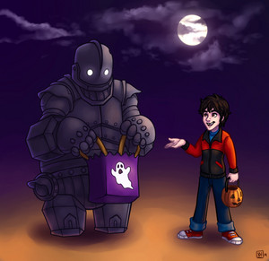 Hiro and Baymax as Hogarth and the Iron Giant
