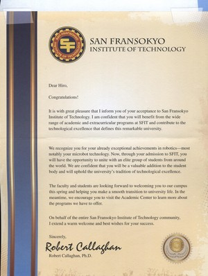 Hiro's acceptance letter from Professor Callaghan