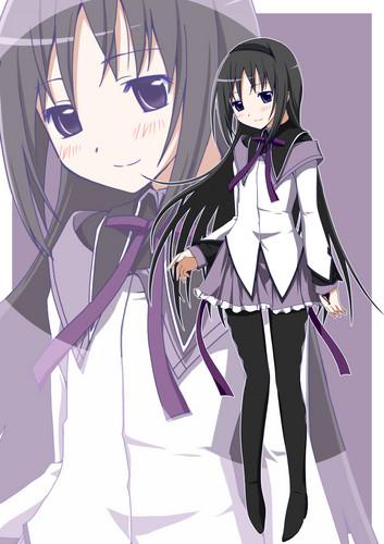 Puella Magi Madoka Magica karatasi la kupamba ukuta titled Homura Akemi