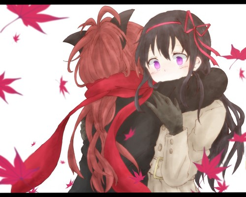 Puella Magi Madoka Magica দেওয়ালপত্র called Homura and Kyoko