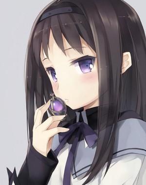 Homura with her soul gem
