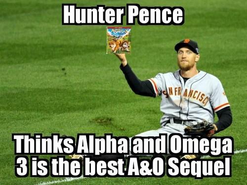 Alpha und Omega Hintergrund with an outfielder, a ballplayer, and an außenfeldspieler, outfielder called Hunter Pence A&O Sign