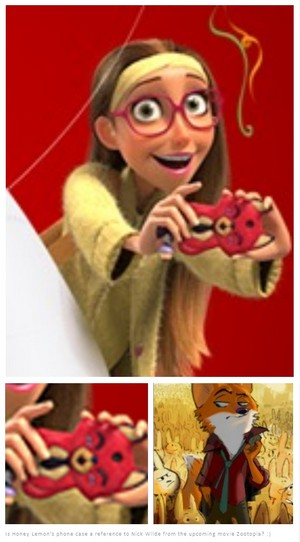 Is Honey Lemon's phone case a reference to Nick Wilde from Zootopia?
