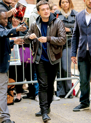 Josh Hutcherson arriving at Live with Kelly and Michael on November 12th, 2014