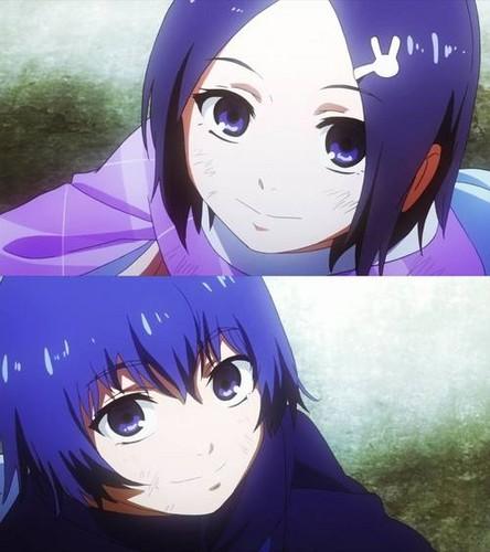 Tokyo Ghoul karatasi la kupamba ukuta possibly with anime called Kirishima Siblings