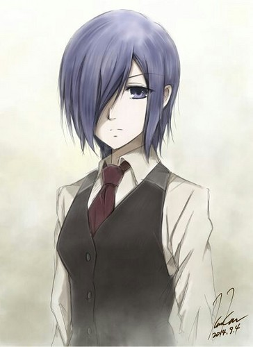 Tokyo Ghoul karatasi la kupamba ukuta probably with a breastplate called Kirishima Touka