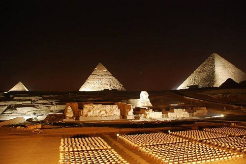 Egypt achtergrond with a granary called LIGHT NIGHT PYRAMIDS