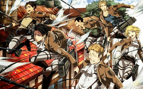 Shingeki no Kyojin (Attack on Titan) Hintergrund possibly containing Anime called Levi Squad!